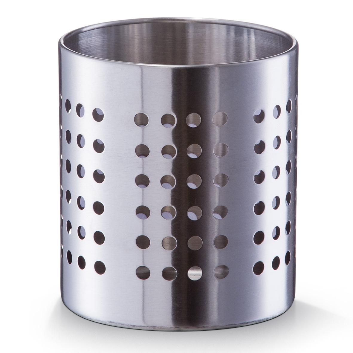 Suport metalic pentru ustensile si tacamuri de bucatarie, Silver Crom, Ø12xH13 cm