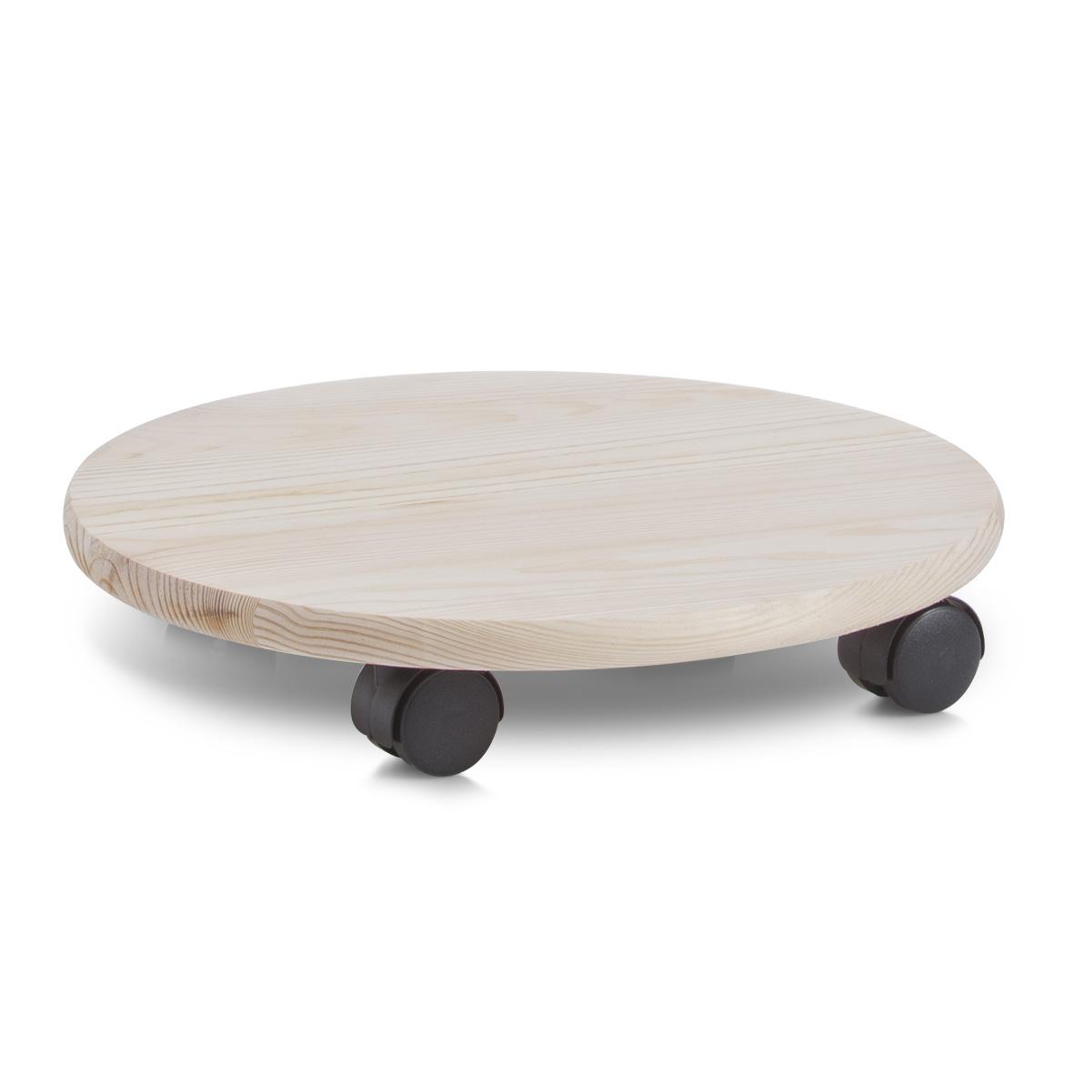 Suport pe roti pentru ghiveci, din lemn de pin, Plantoller Natural, Ø35 cm