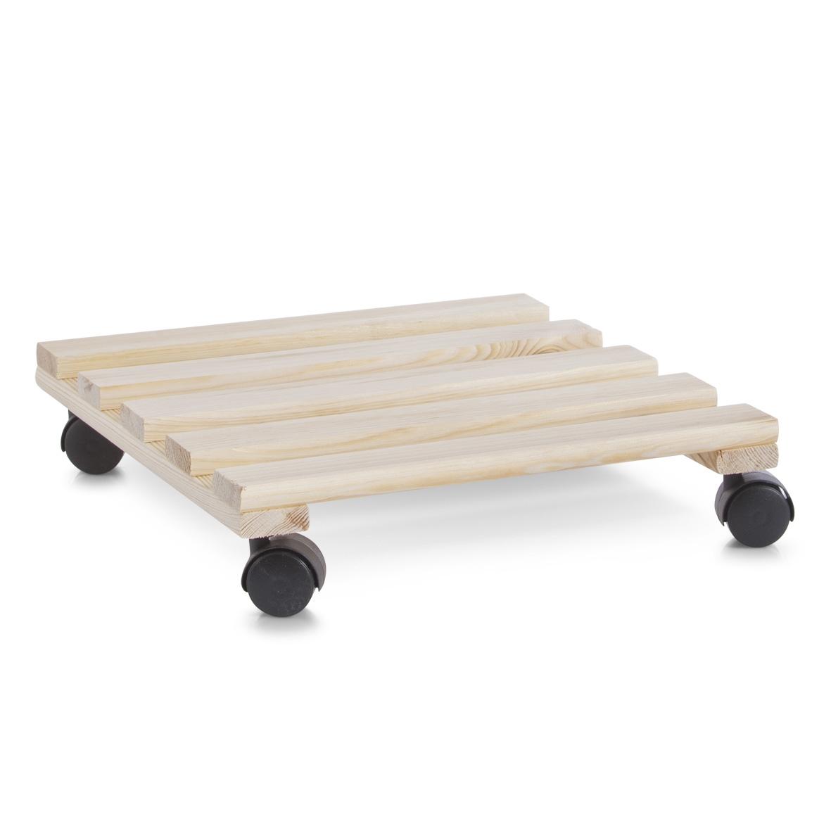 Suport pe roti pentru ghiveci, din lemn de pin, Plantoller Square Natural, l36xA36 cm