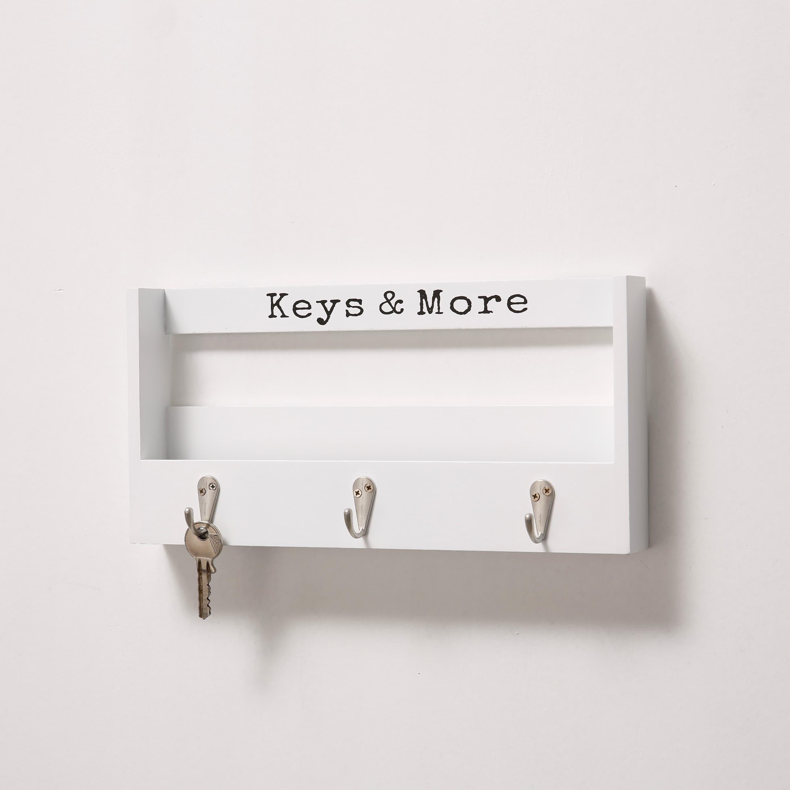 Suport pentru chei din MDF Hakon Alb, l30xA7xH15 cm imagine