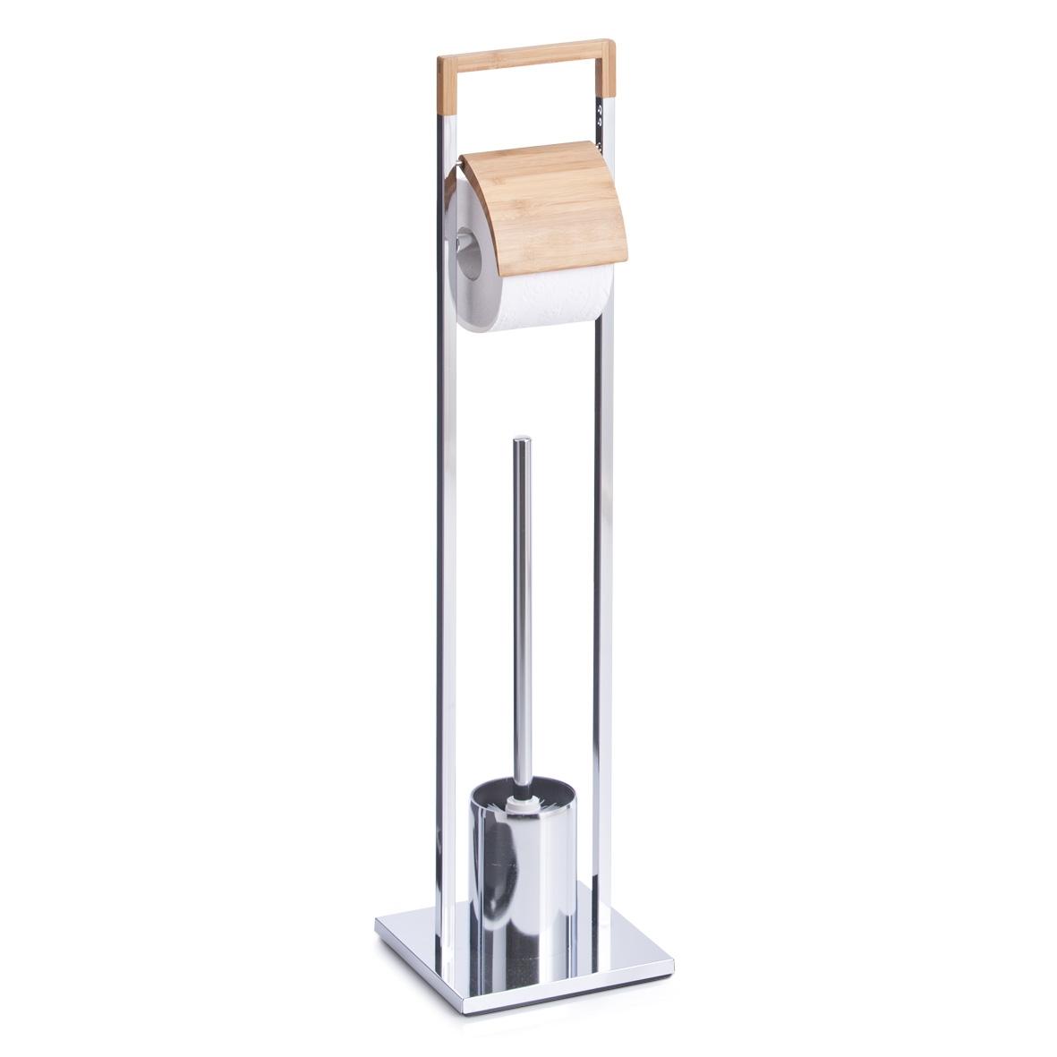 Suport pentru hartie igienica si perie de toaleta, Bamboo Metal cromat, l18,5xA18,5xH75 cm din categoria Baie