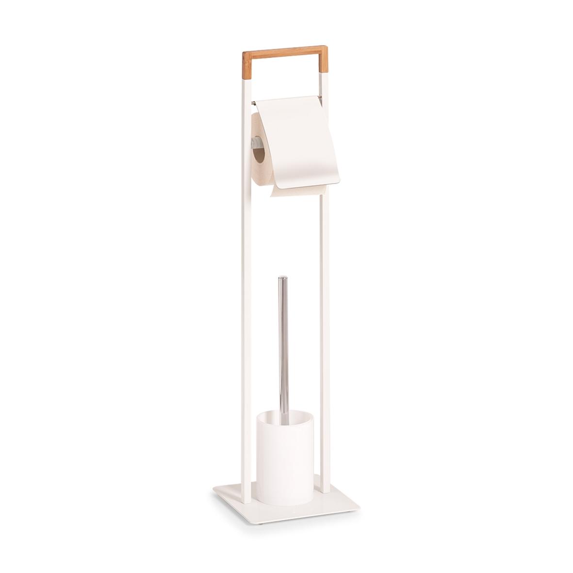 Suport pentru hartie igienica si perie de toaleta, Bamboo Metal White, l19xA19xH74,5 cm imagine