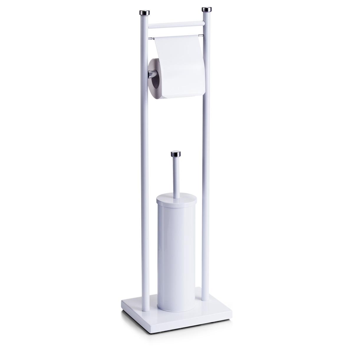 Suport pentru hartie igienica si perie de toaleta, Metal White, l22xA18xH76 cm din categoria Baie