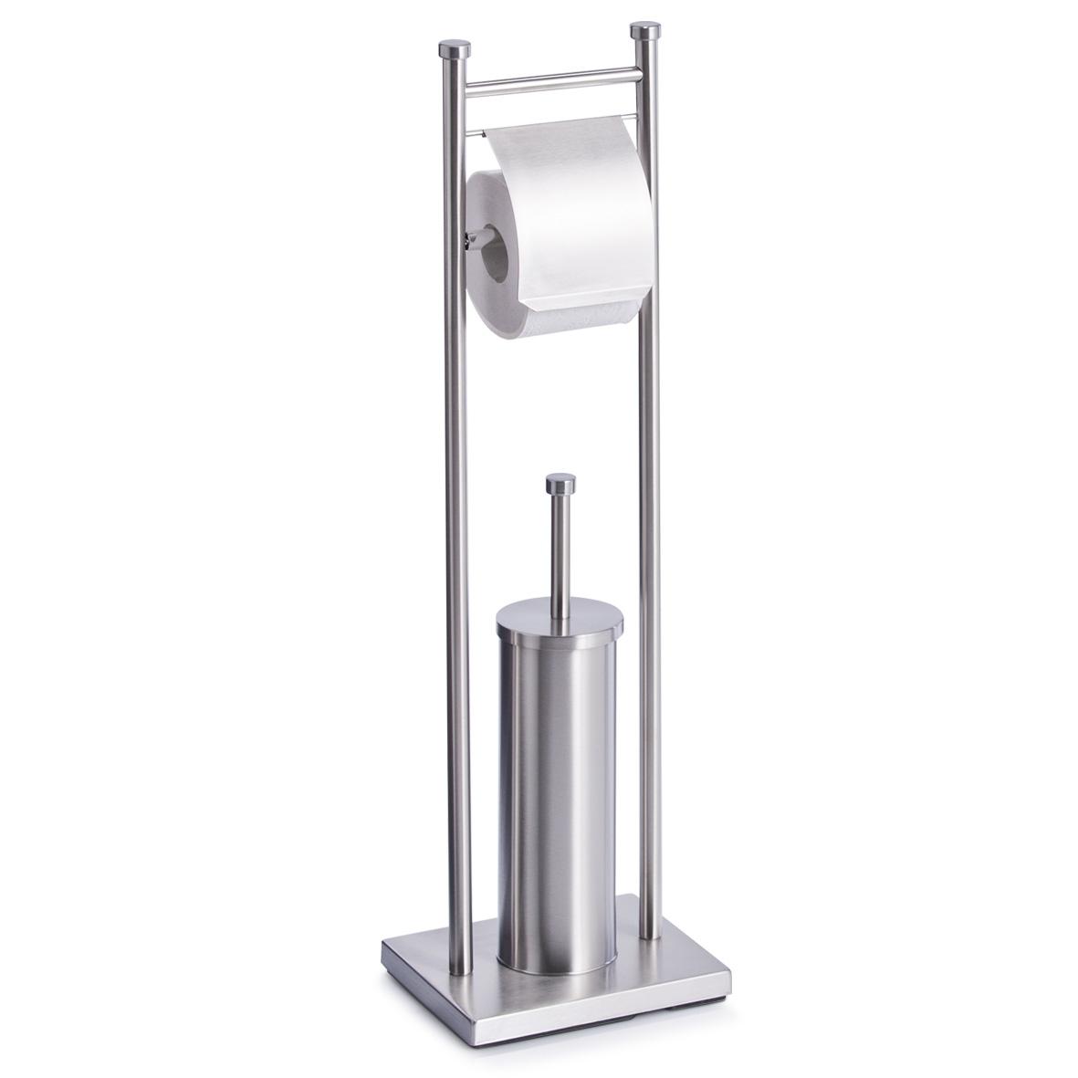 Suport pentru hartie igienica si perie de toaleta, Otel inoxidabil, l22xA18xH76 cm din categoria Baie