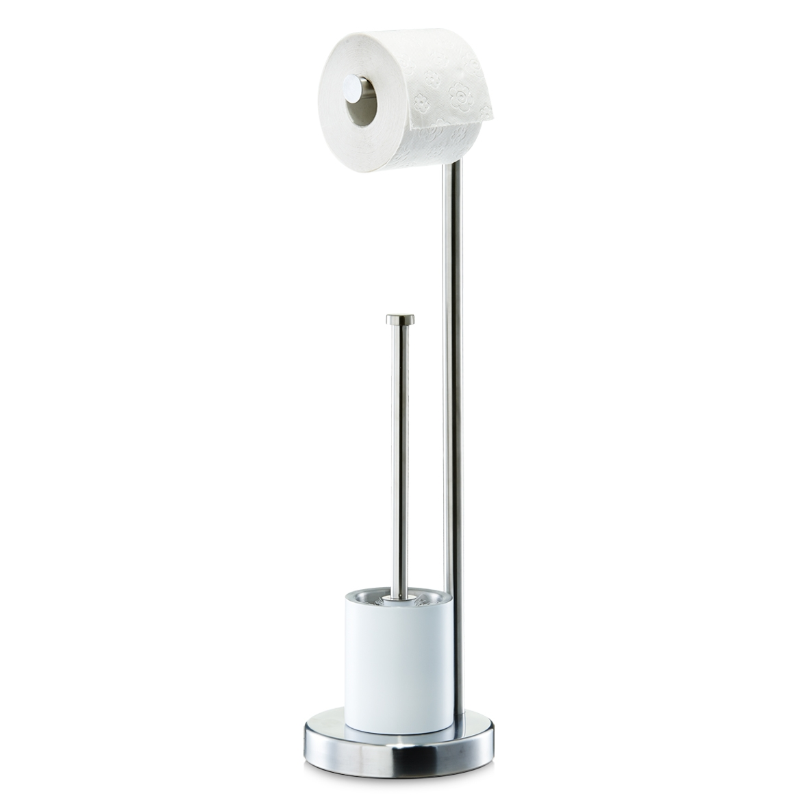 Suport pentru hartie igienica si perie de toaleta, Otel inoxidabil White, Ø 16,8xH60 cm poza