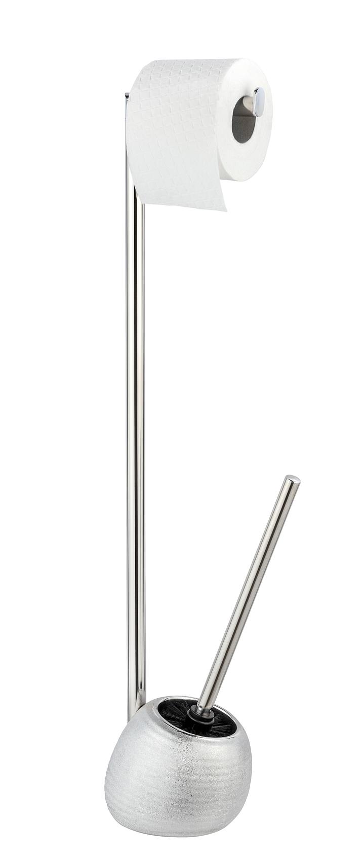 Suport pentru hartie igienica si perie de toaleta, Polaris Juwel Argintiu, l16xA14,5xH72,5 cm