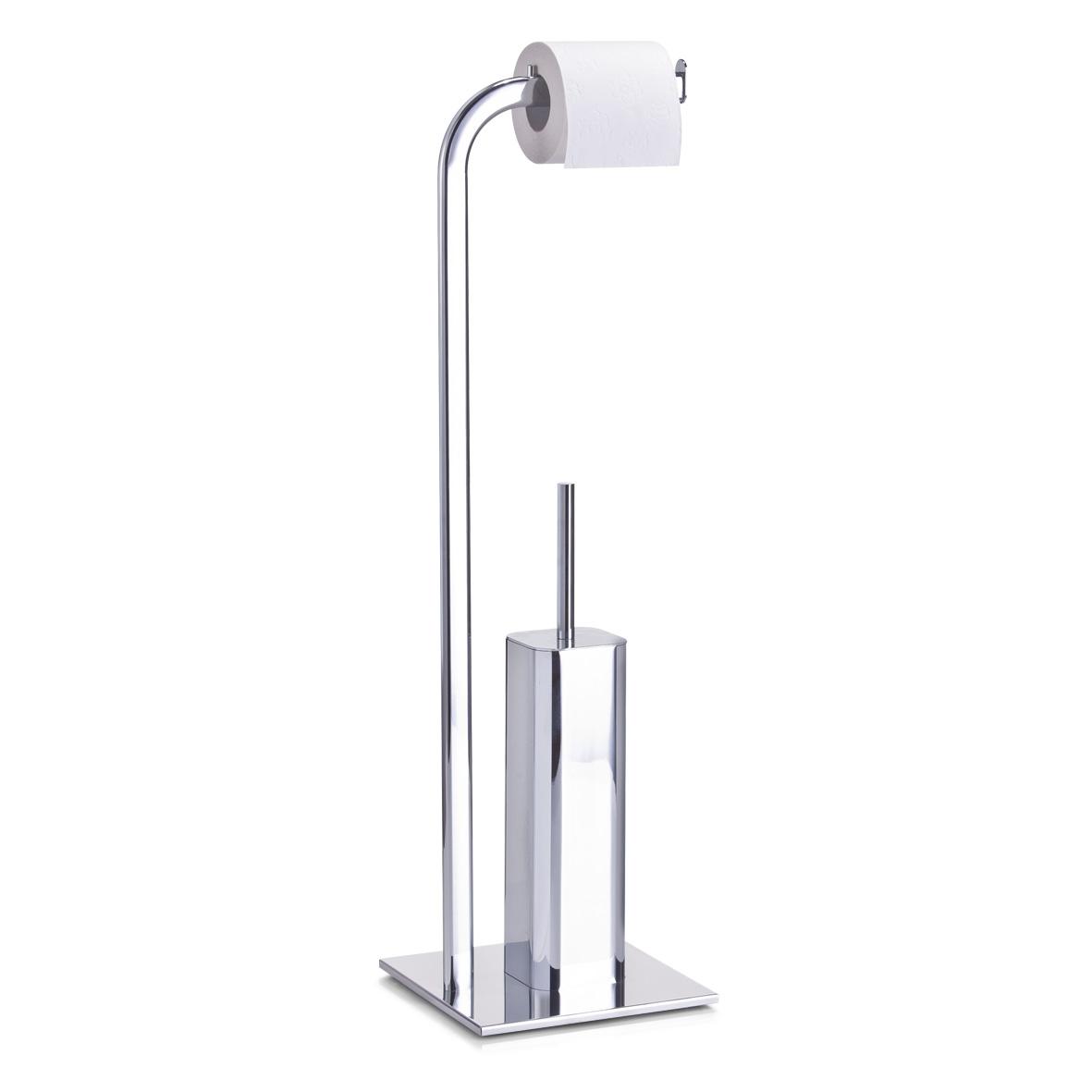 Suport pentru hartie igienica si perie de toaleta, Steel Metal cromat, l20xA20xH72 cm imagine