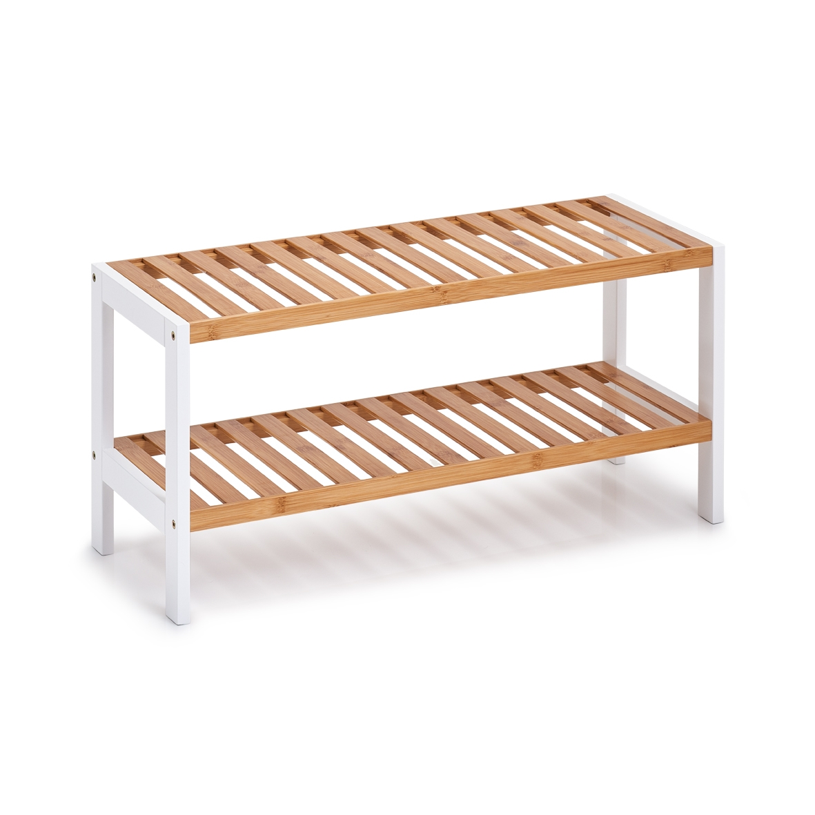 Suport pentru incaltaminte, din bambus si MDF 2-Bamboo White, l70xA26xH33 cm somproduct.ro