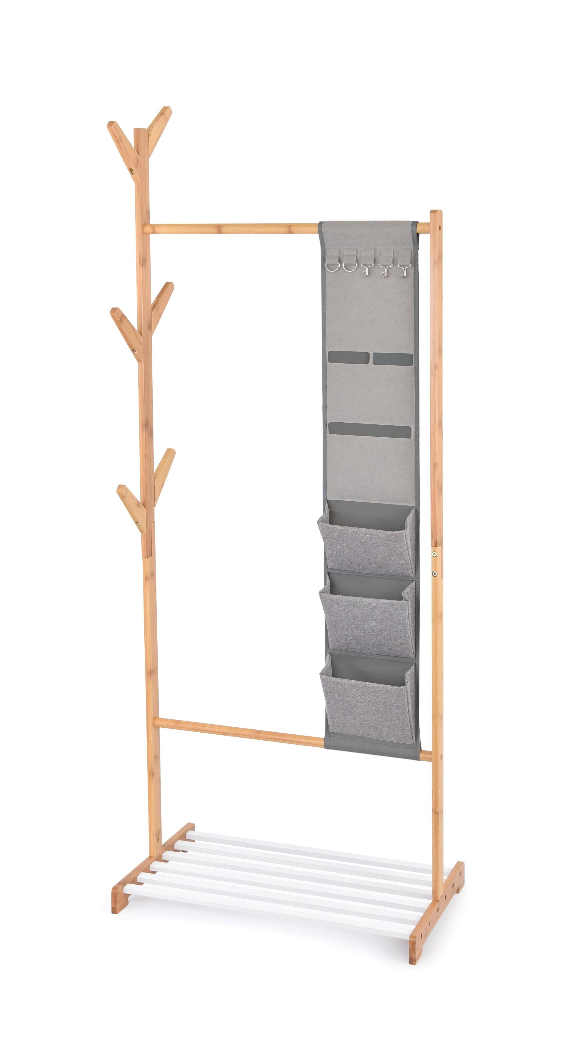 Suport pentru umerase si incaltaminte, cu organizator pentru accesorii, Bamboo II Natural / Alb, l65xA38xH167 cm imagine