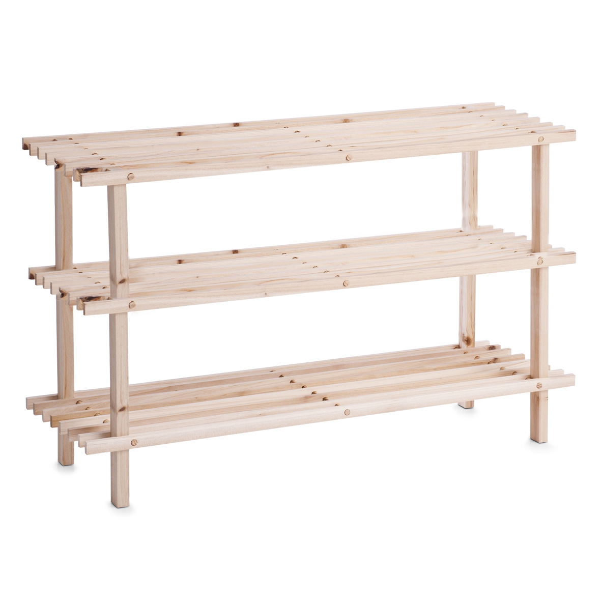 Suport pentru incaltaminte, din lemn, 2-Natural Wood, l80xA26xH49,5 cm imagine