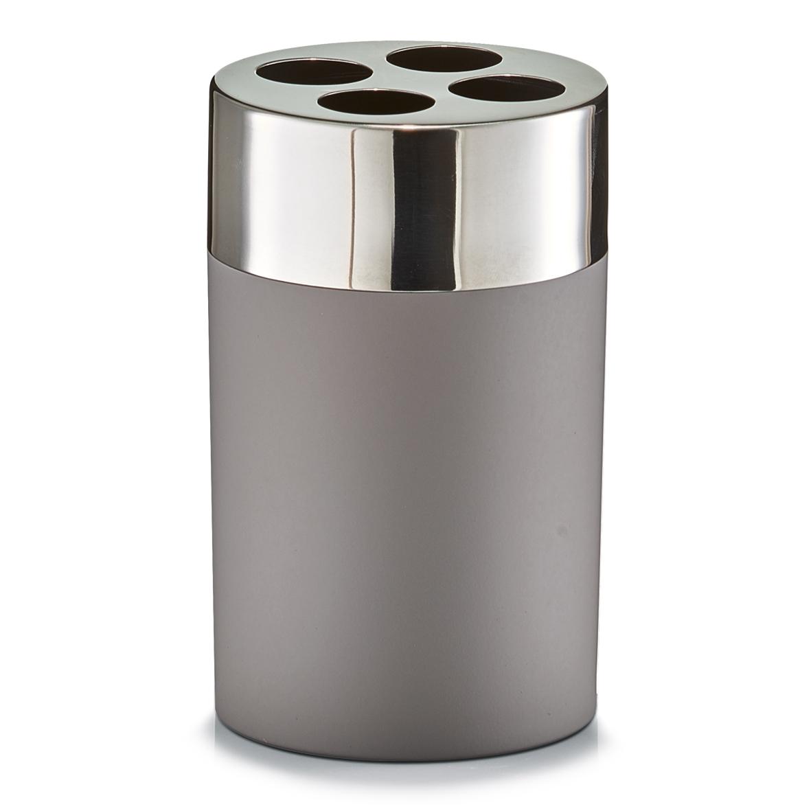 Suport pentru periuta din plastic si inox, Taupe matte, Ø 6,5xH11 cm