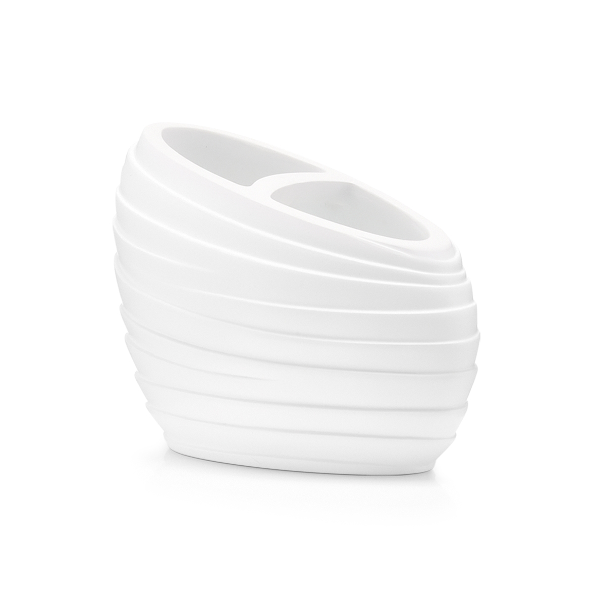 Suport pentru periuta din polirasina, Abstrakt White, l12,5xA6,5xH8,9 cm