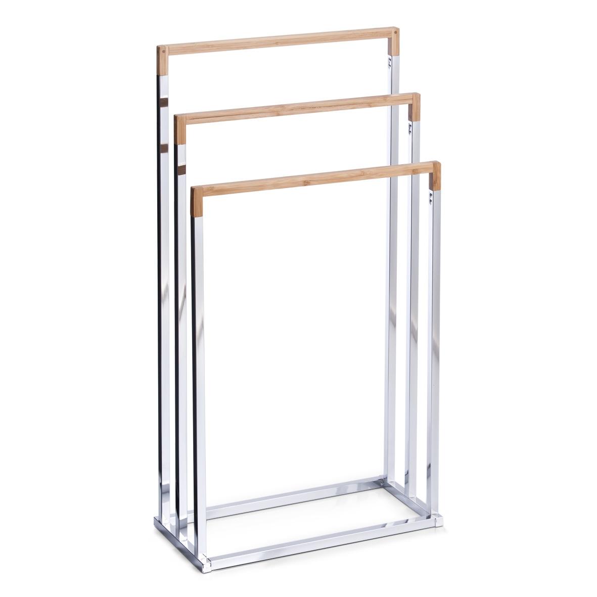 Suport pentru prosoape de baie, Bamboo Metal Cromat, l45xA21,5xH84,5 cm