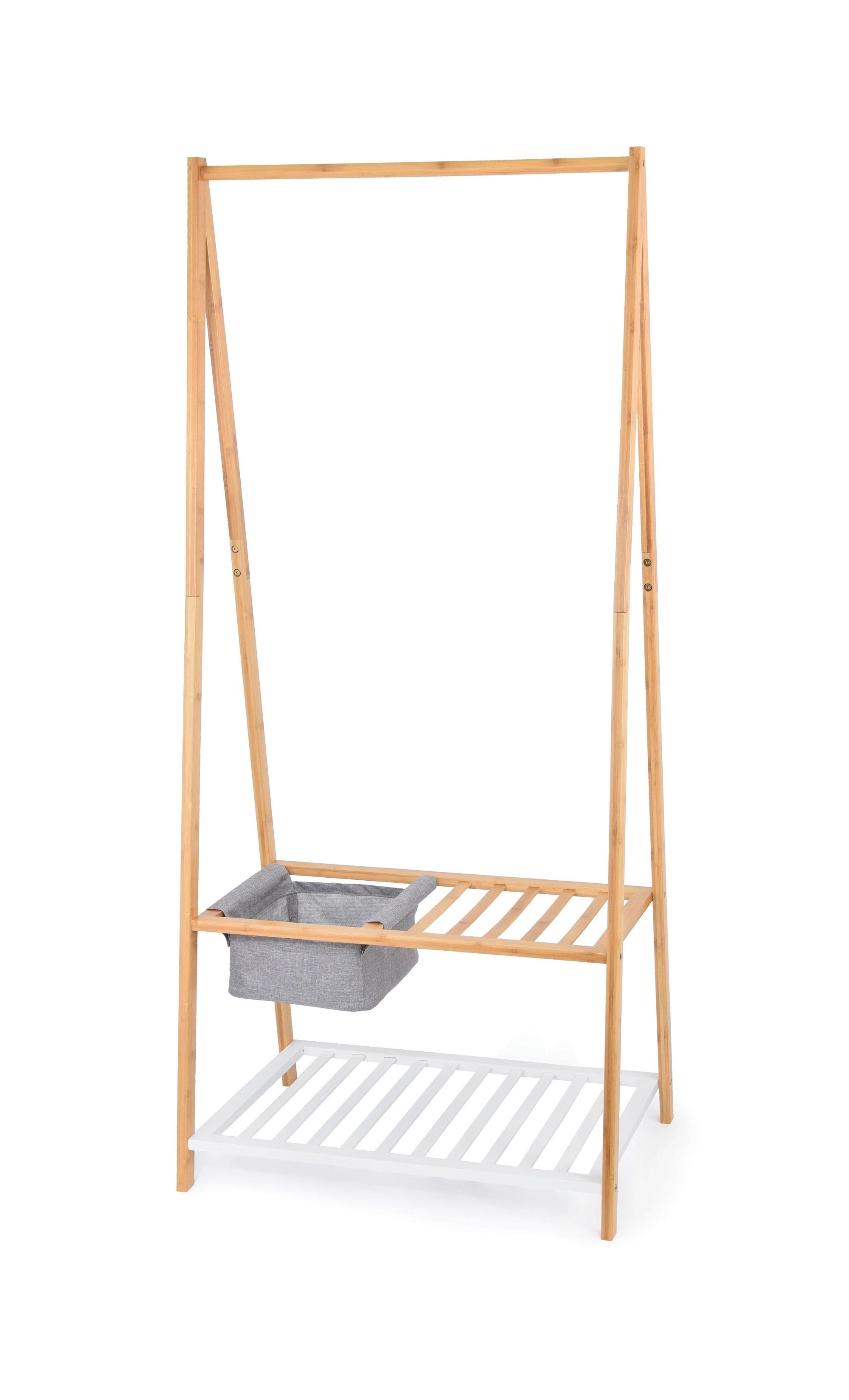 Suport pentru umerase si incaltaminte, cu cos pentru depozitare, Bamboo Natural / Alb, l70xA45xH160 cm poza