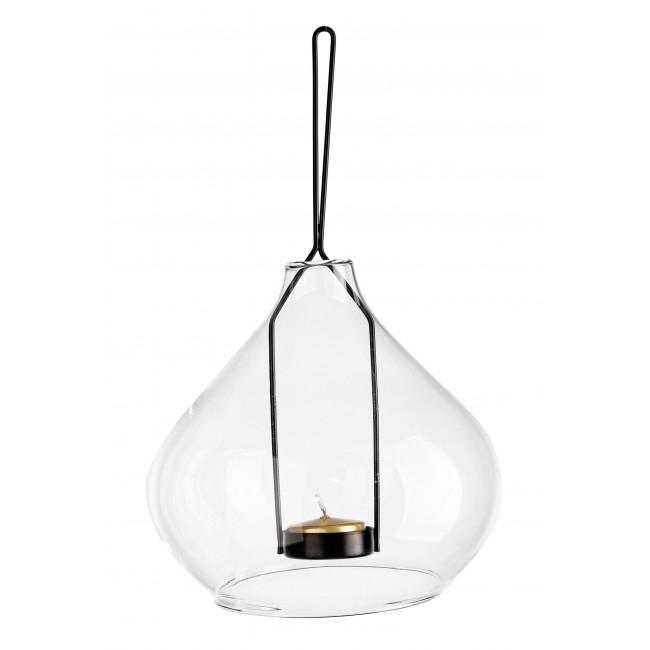 Suport suspendabil pentru lumanare, din sticla si metal Metric 2 Transparent / Negru, Ø15,4xH15 cm poza
