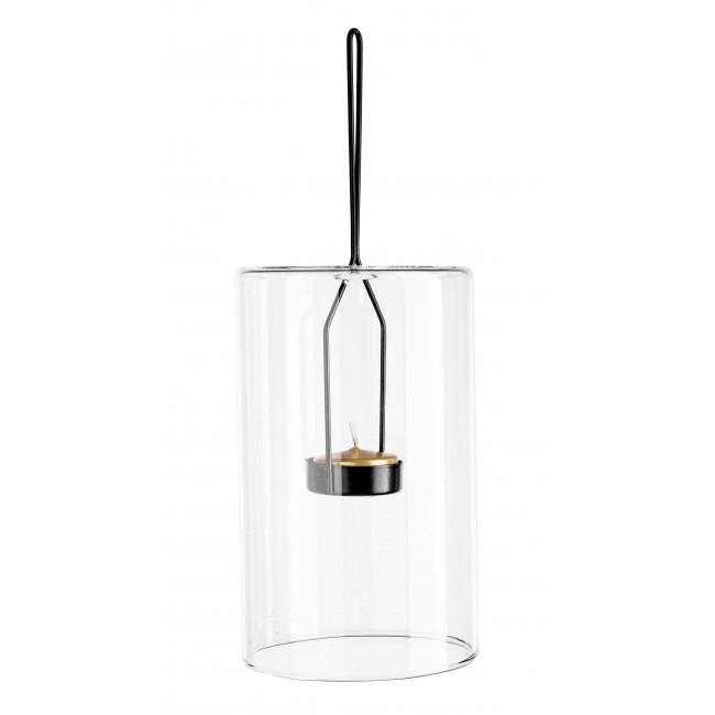 Suport suspendabil pentru lumanare, din sticla si metal Metric 3 Transparent / Negru, Ø10xH16,4 cm poza