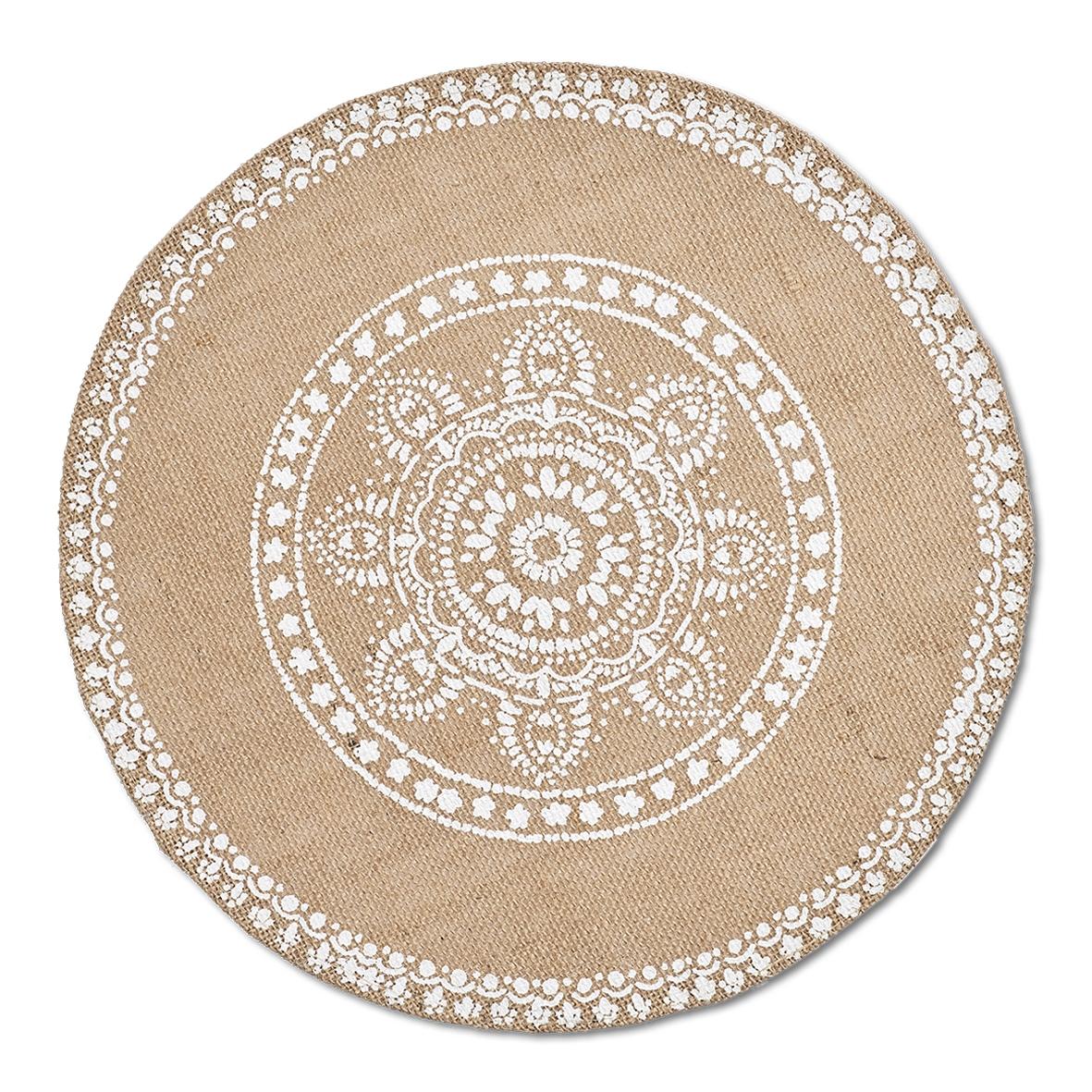 Suport vesela din in, Mandala Bej Inchis, Ø38 cm