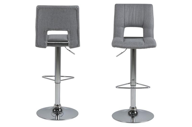 Set 2 scaune de bar din metal tapitate cu stofa Sylvia Grey