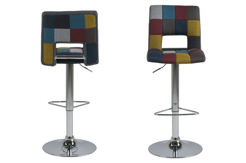 Set 2 scaune de bar din metal tapitate cu stofa Sylvia Multicolor