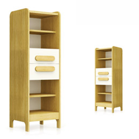 Biblioteca din MDF First White / Natural l47xA44xH144 cm