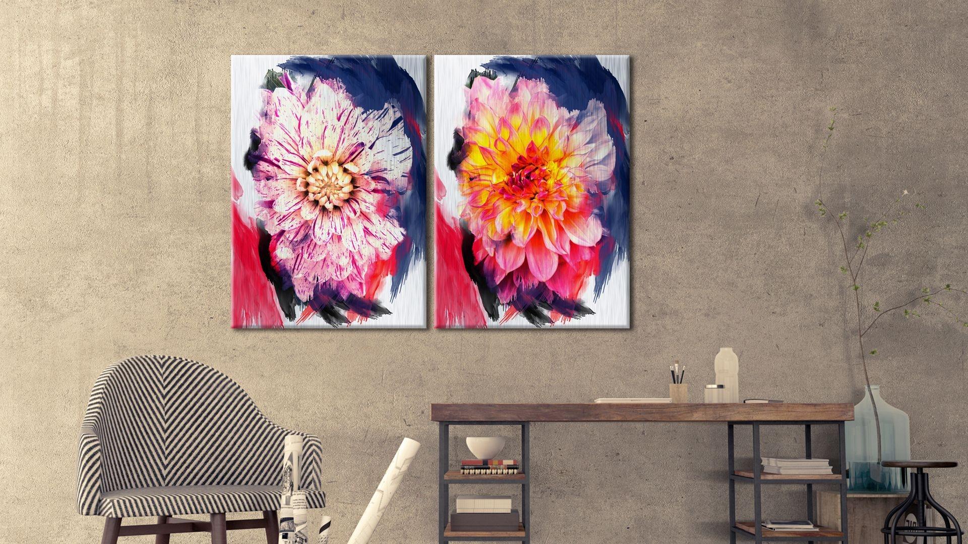 Tablou 2 piese din aluminiu striat Chrysanthemums in a Mirror