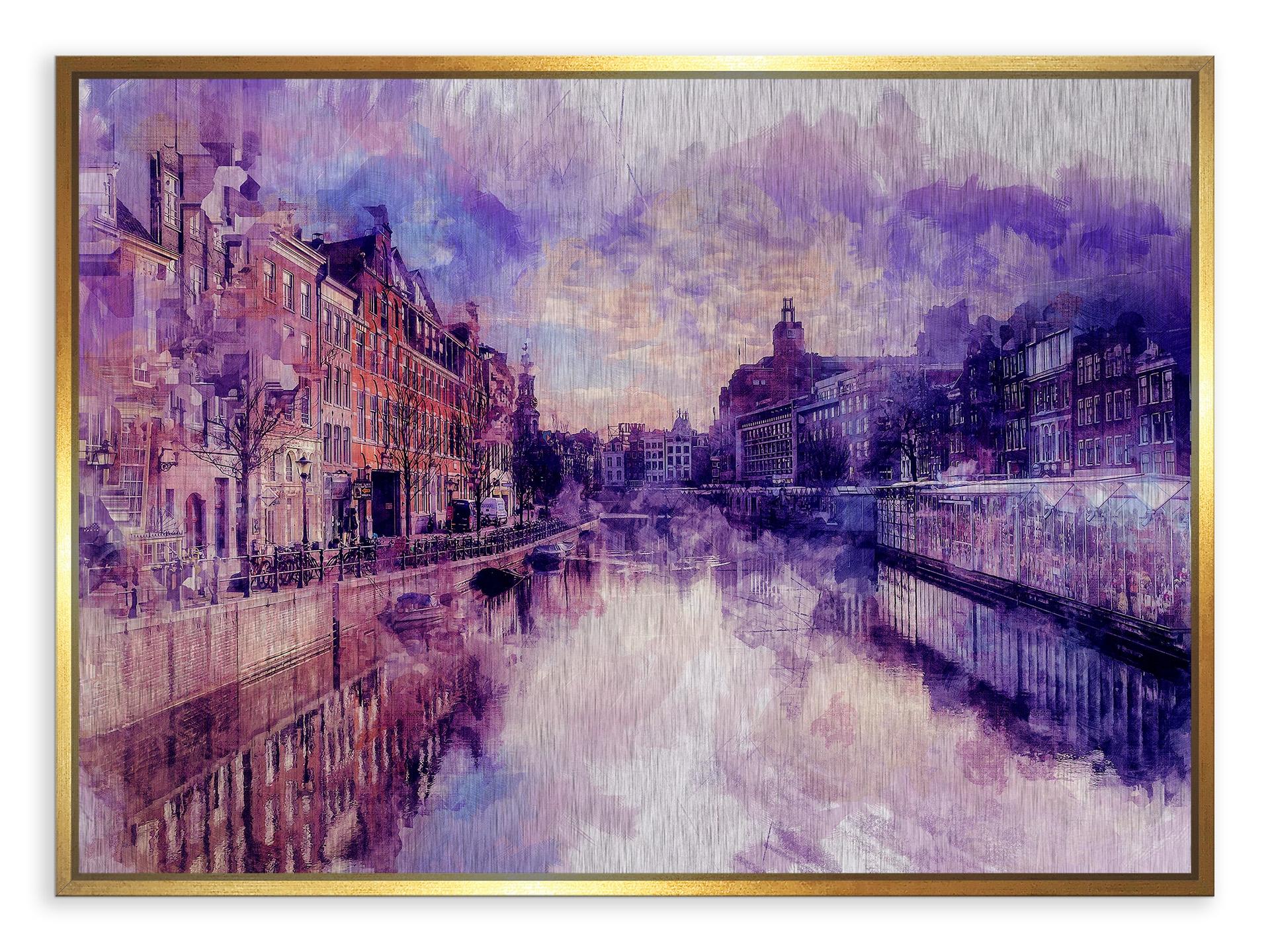Tablou din aluminiu striat Amsterdam in Colours Gold