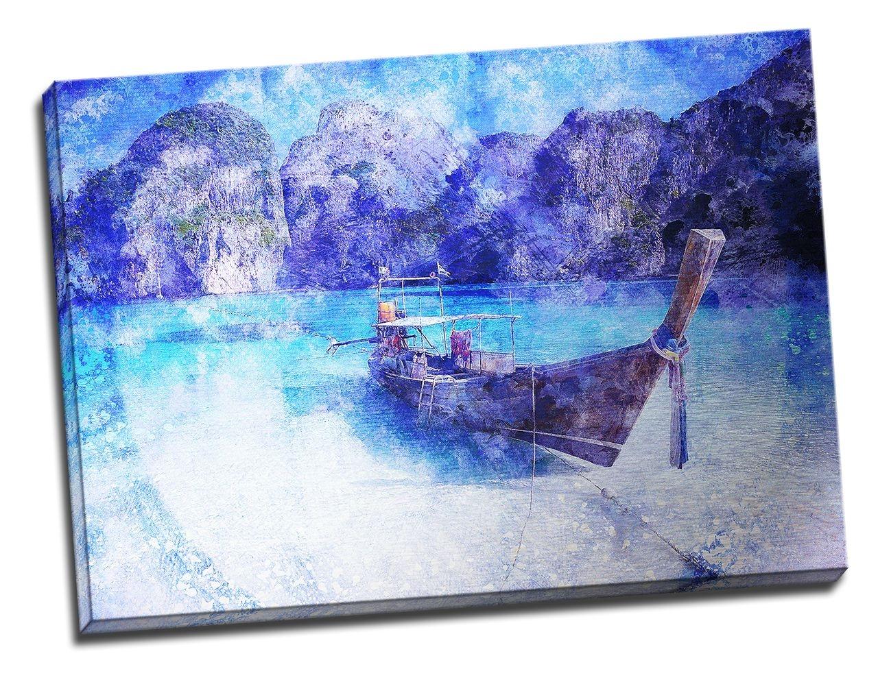Tablou din aluminiu striat Blue Boat Wait for Me
