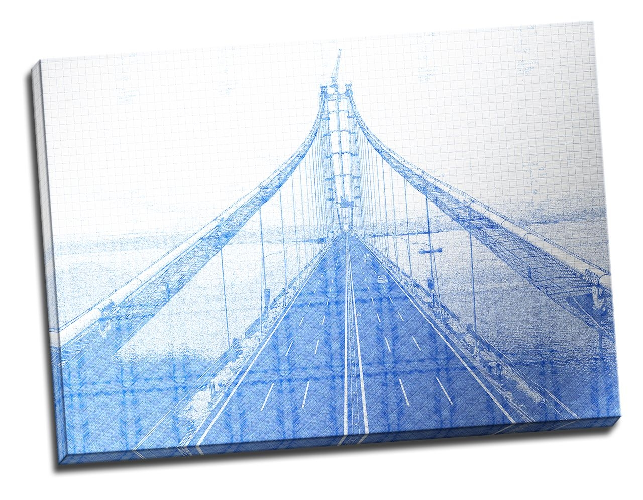 Tablou din aluminiu striat Blue Bridge