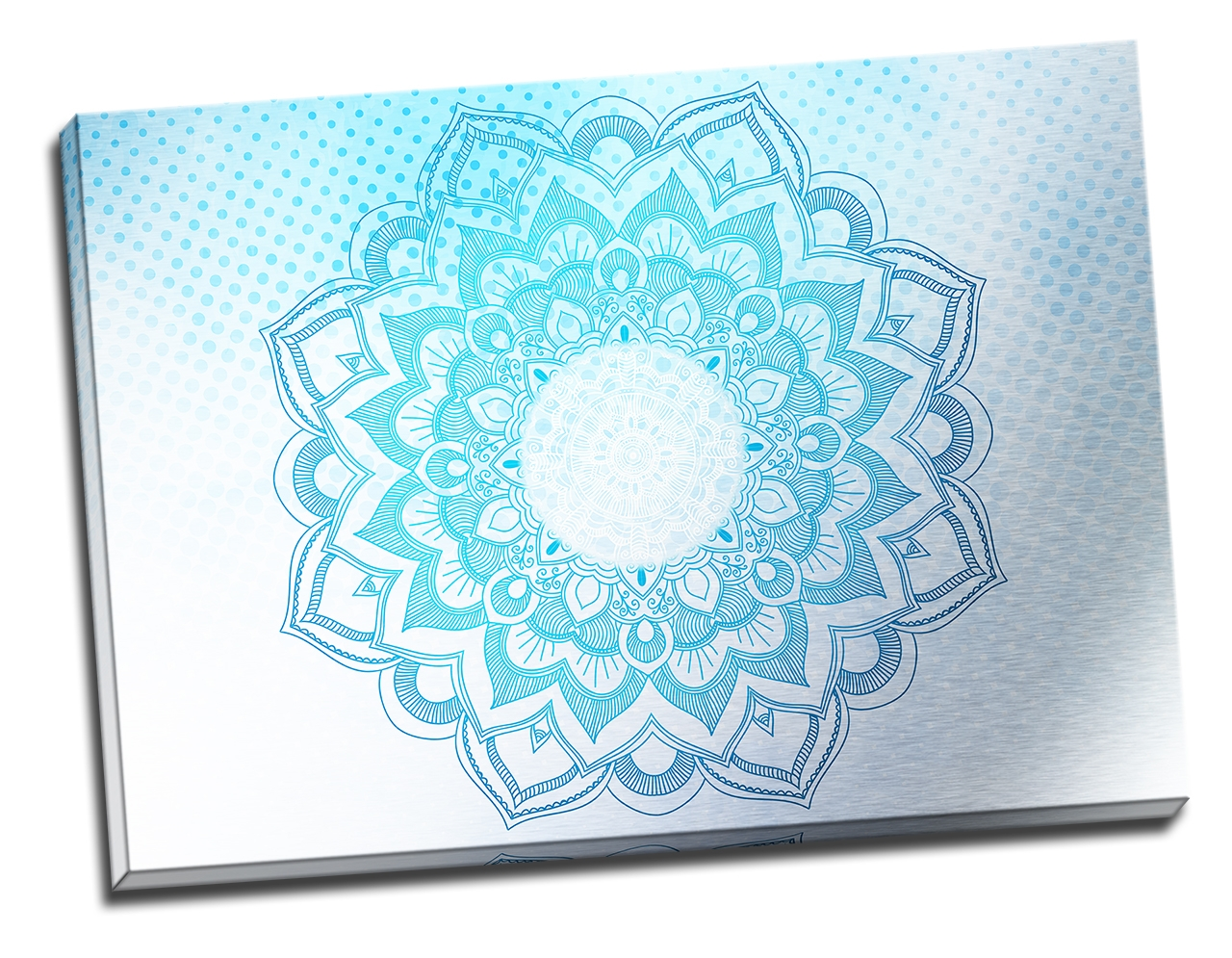 Tablou din aluminiu striat Blue Mandala
