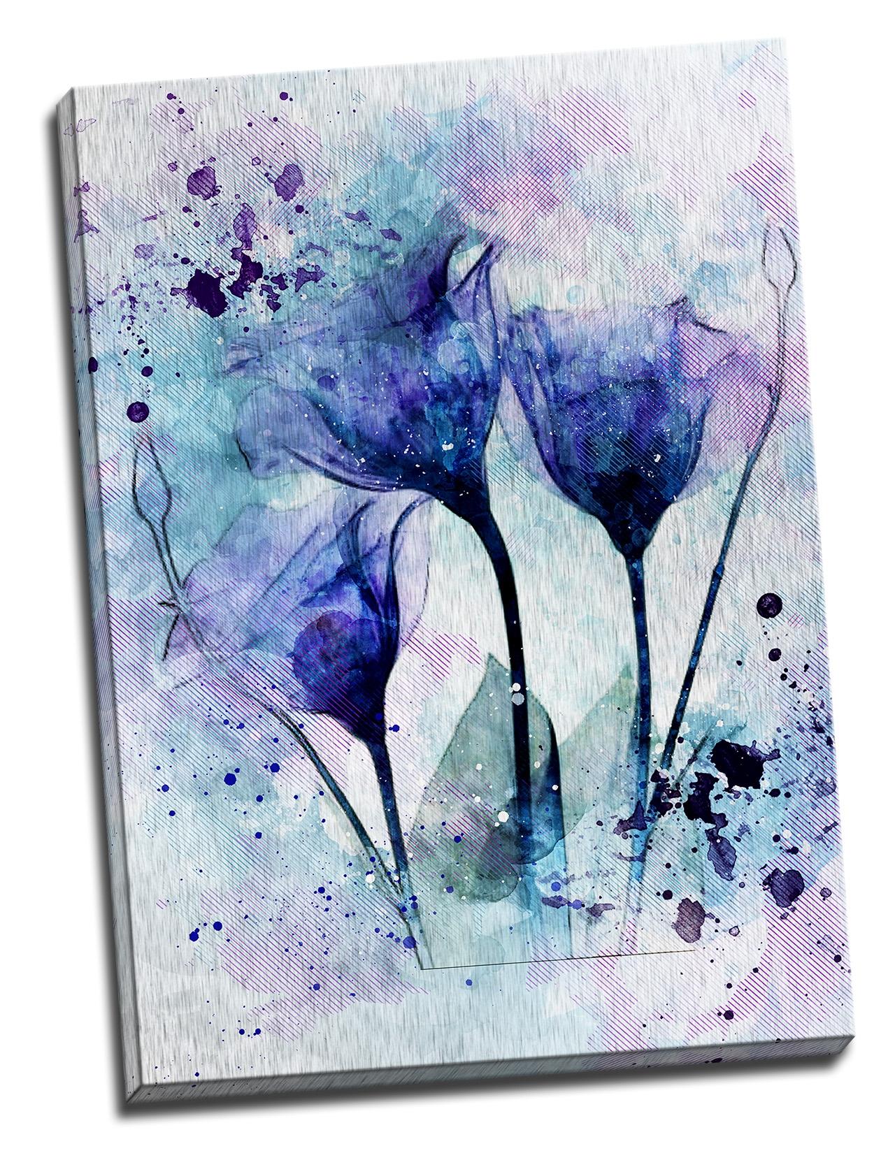 Tablou din aluminiu striat Blue Smoke Flowers