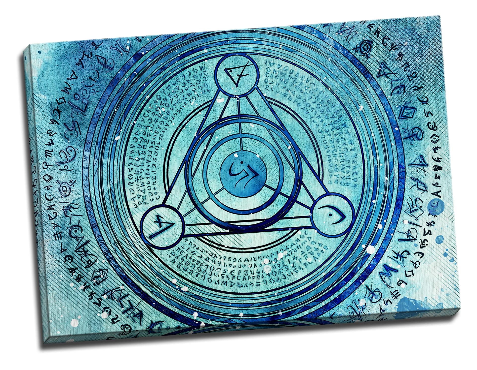 Tablou din aluminiu striat Blue Zodiac