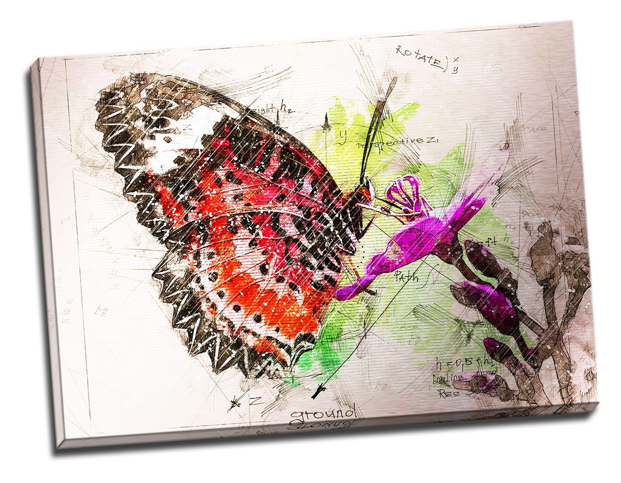 Tablou din aluminiu striat Butterfly in My Notebook