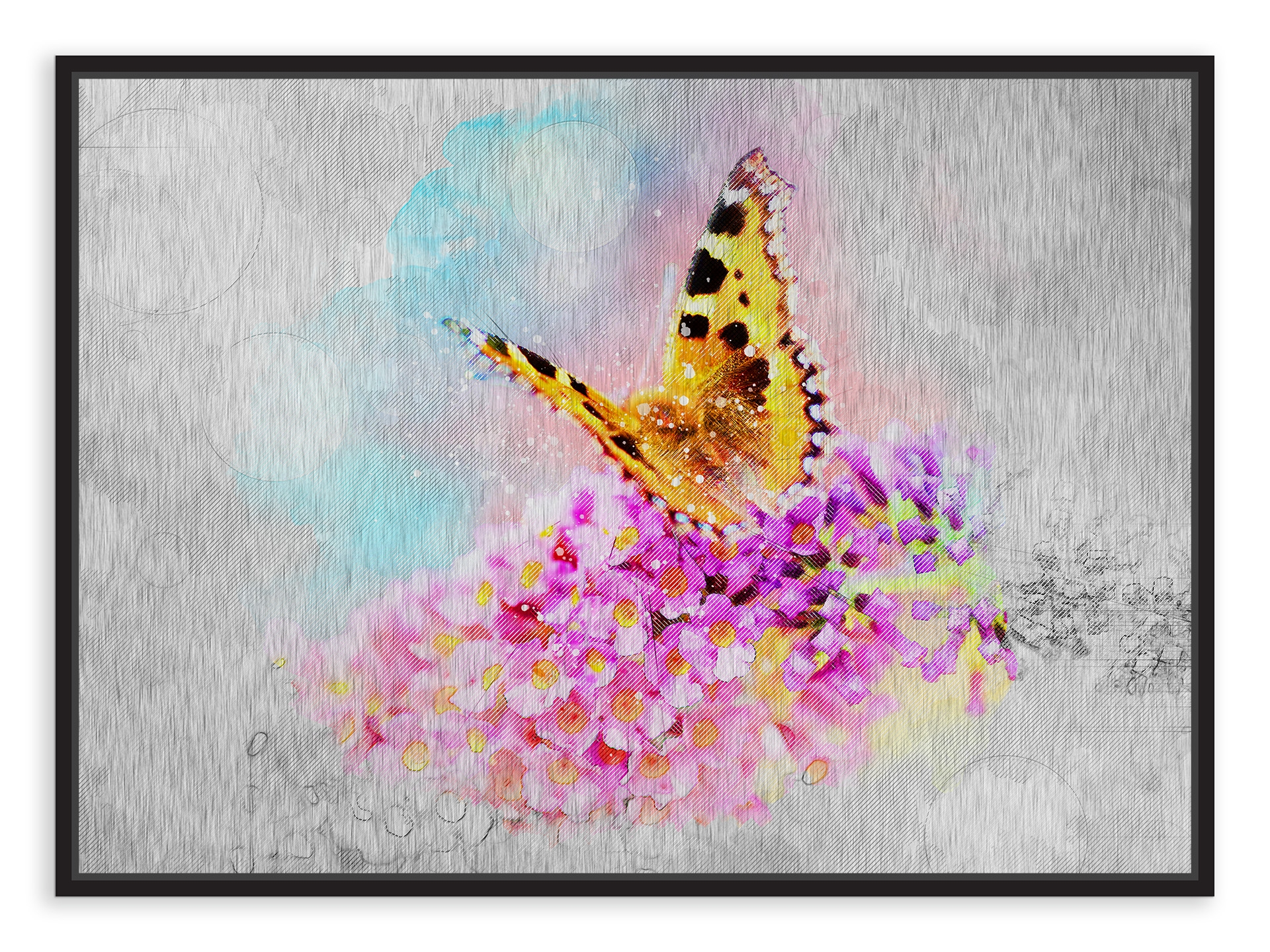 Tablou din aluminiu striat Butterfly of Joy Black