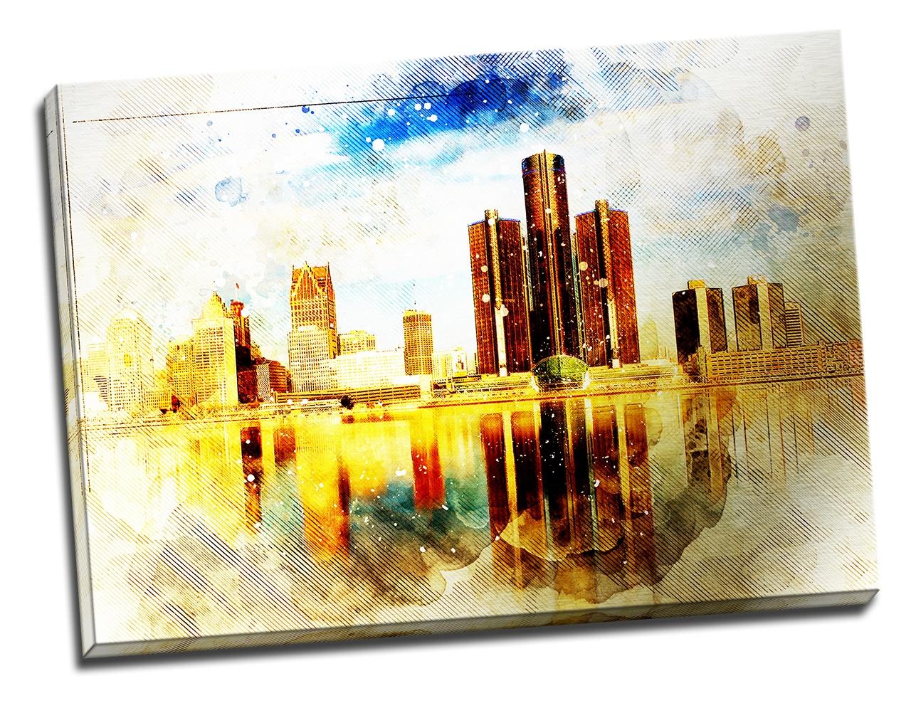 Tablou din aluminiu striat Cityscape
