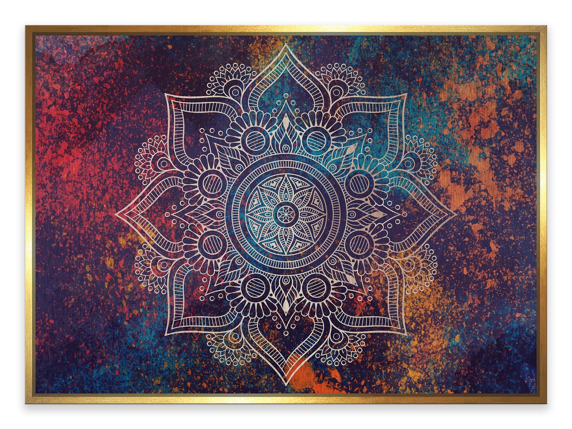 Tablou din aluminiu striat Cosmic Mandala Gold