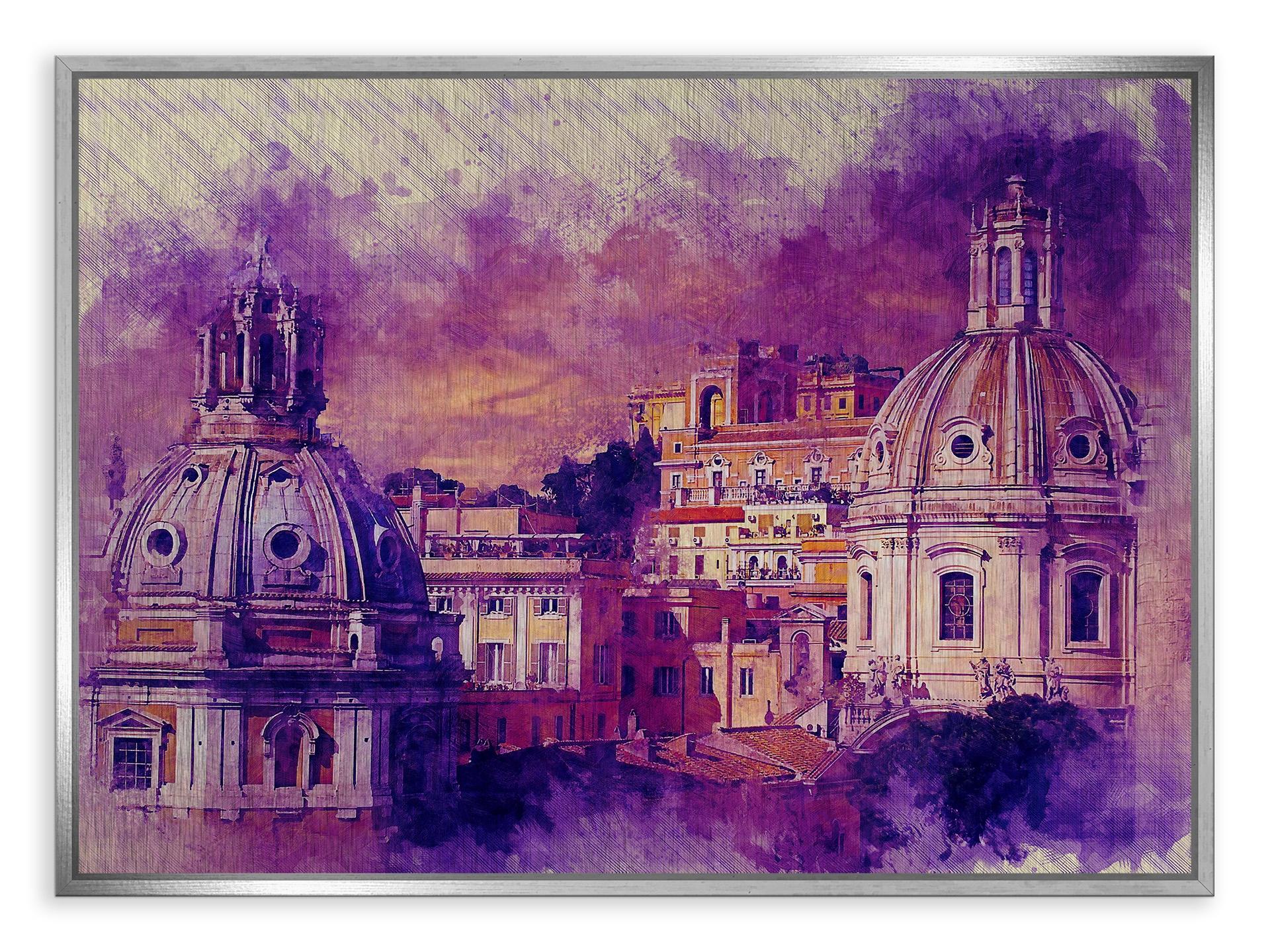 Tablou din aluminiu striat Domes from Rome Silver