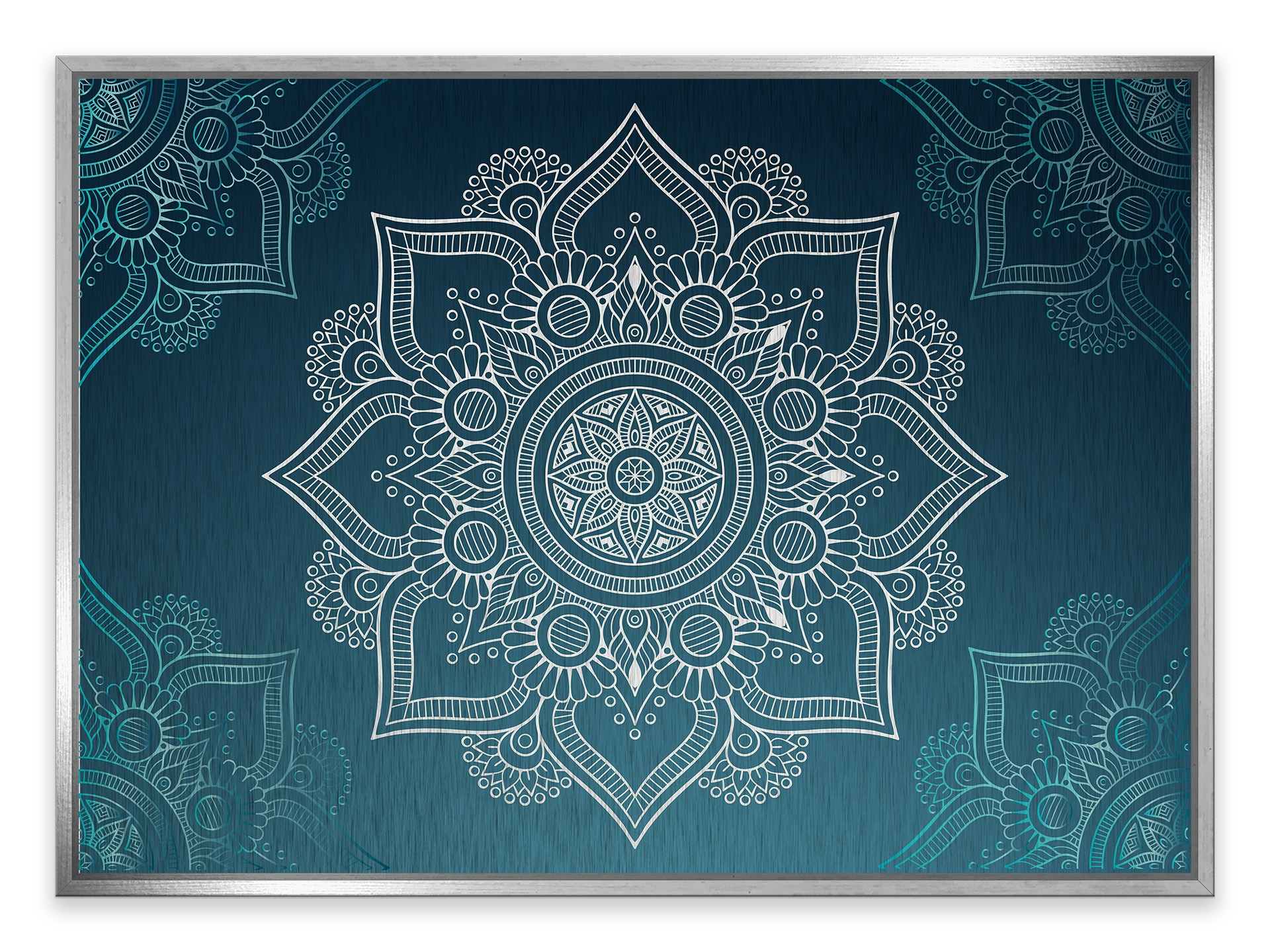 Tablou din aluminiu striat Grey and White Mandala Silver