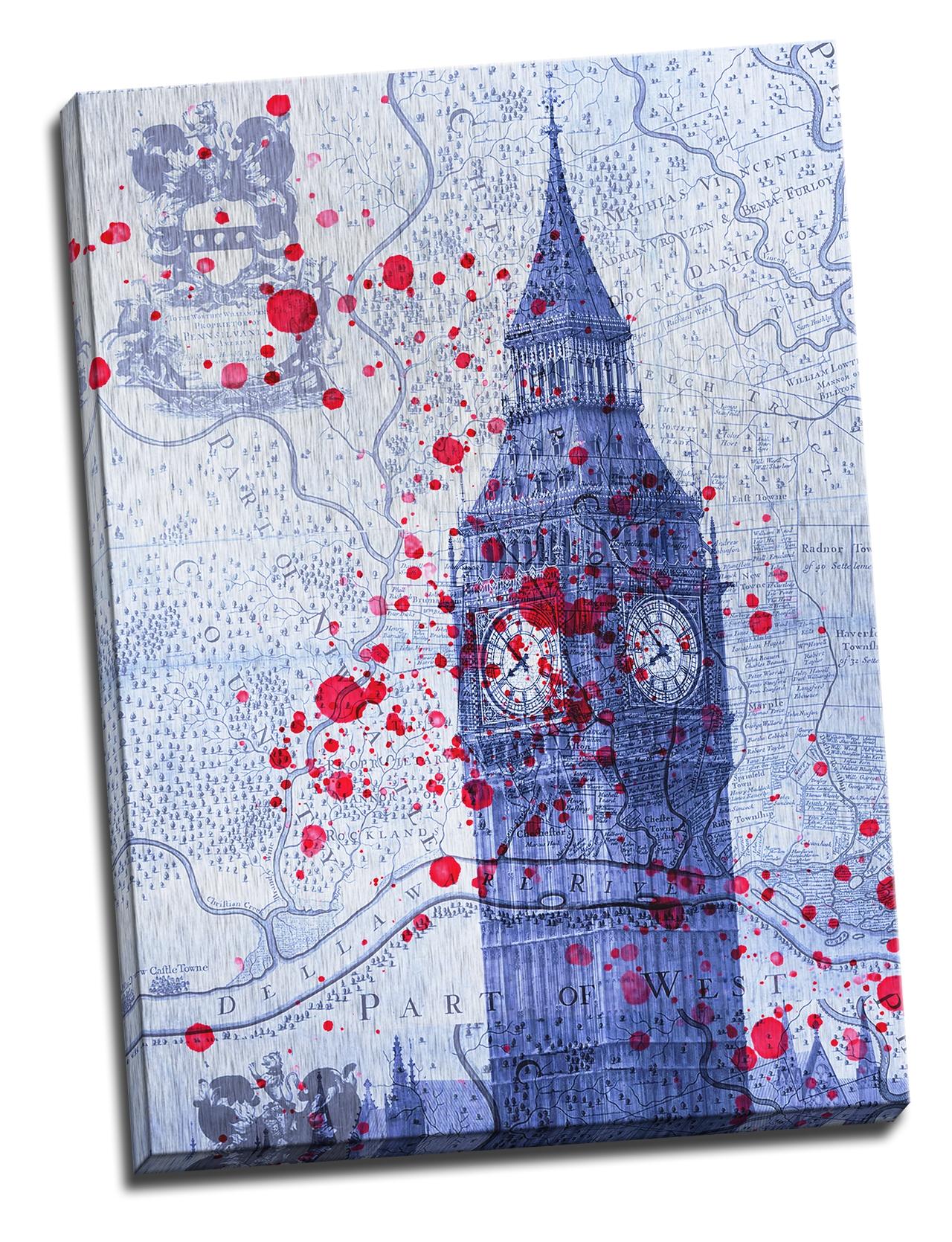 Tablou din aluminiu striat Maps and Towers