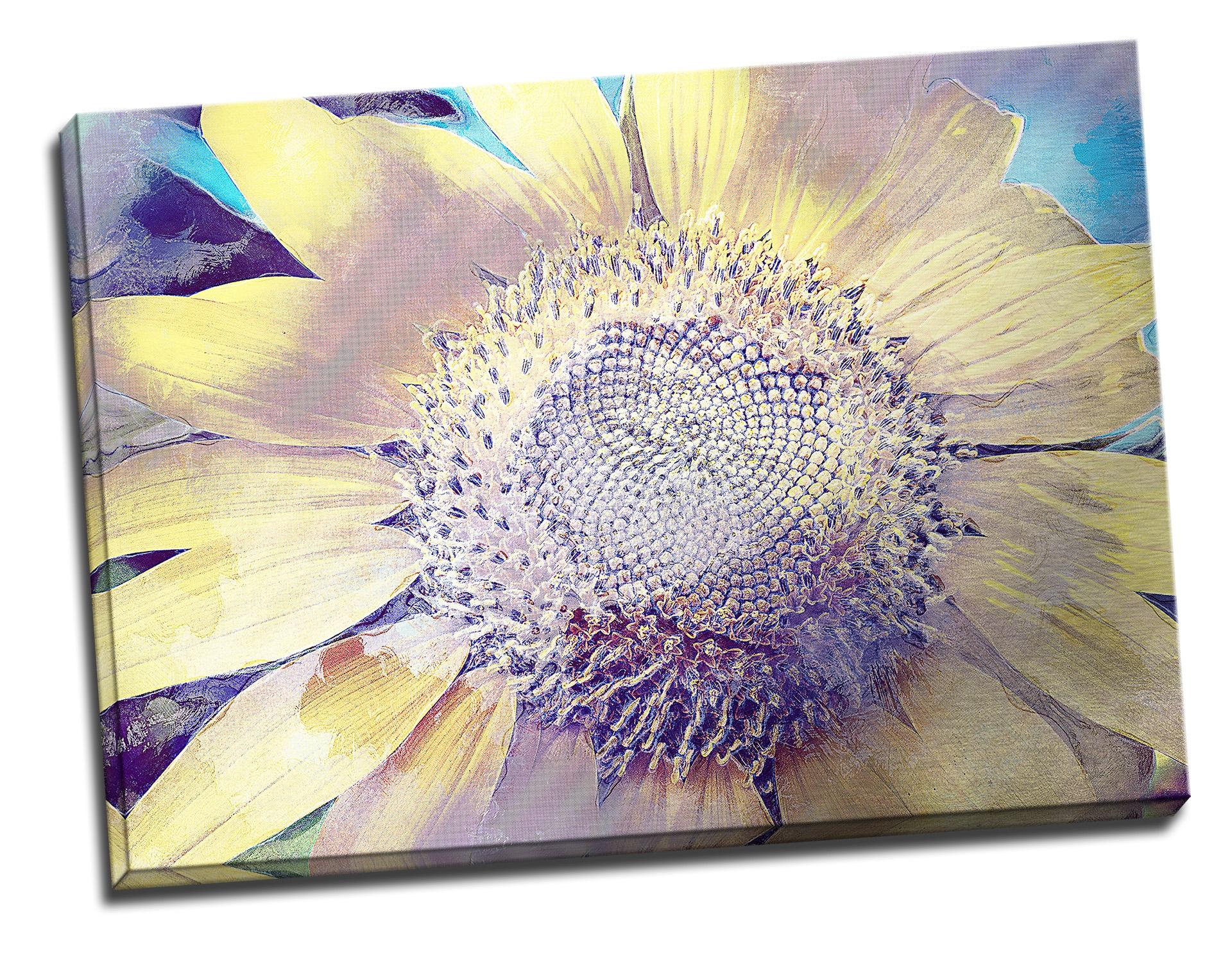 Tablou din aluminiu striat Sunflower Burst