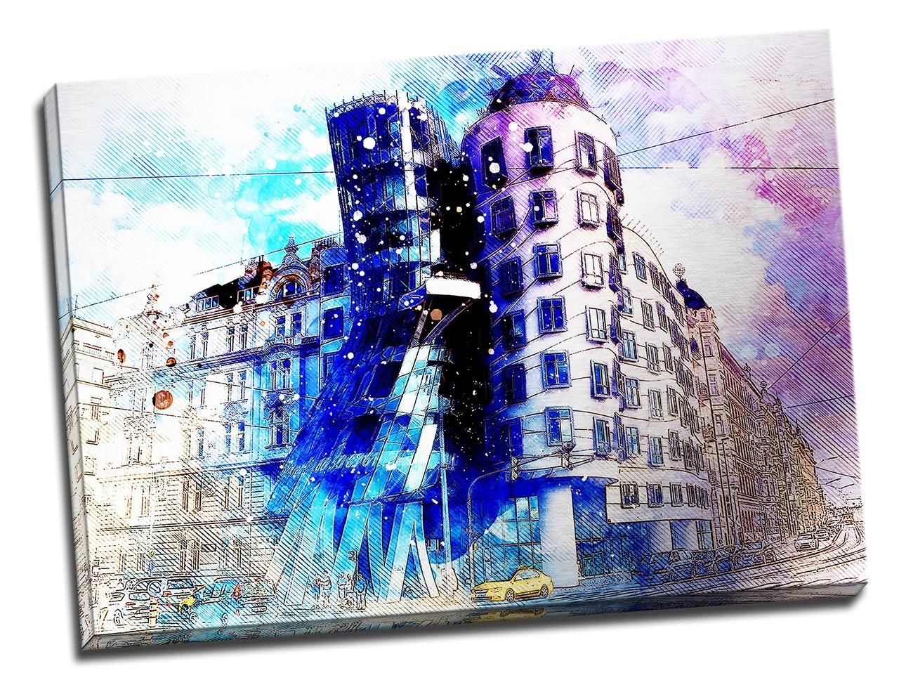 Tablou din aluminiu striat The Dancing House