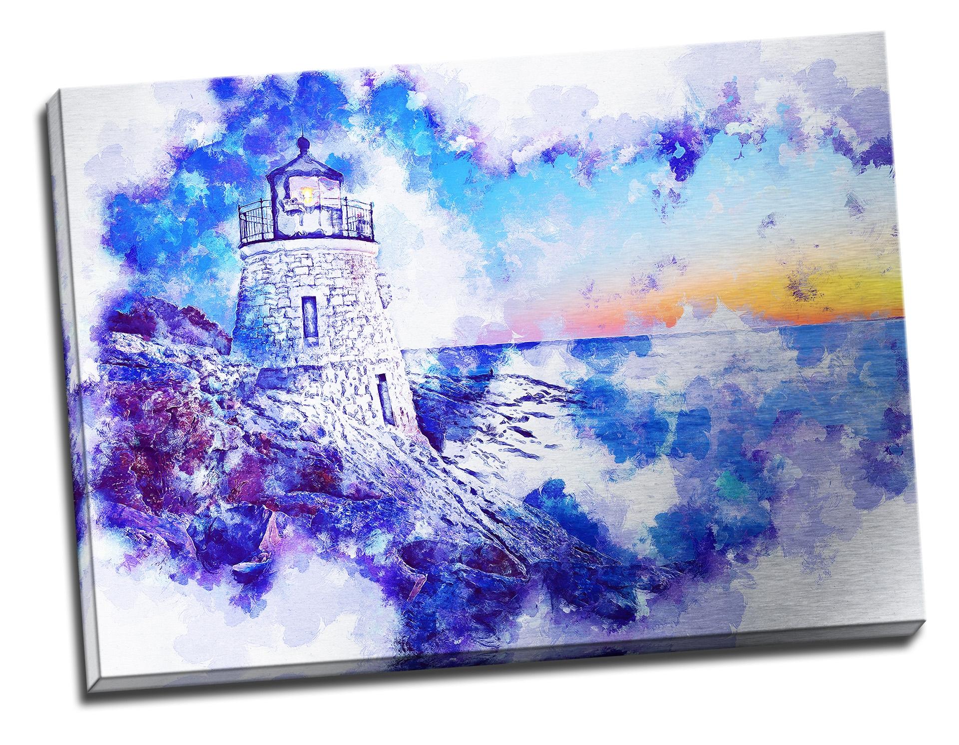 Tablou din aluminiu striat To the Lighthouse!