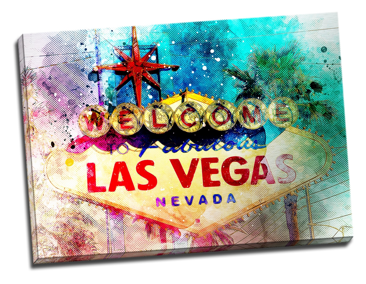Tablou din aluminiu striat Welcome to Las Vegas