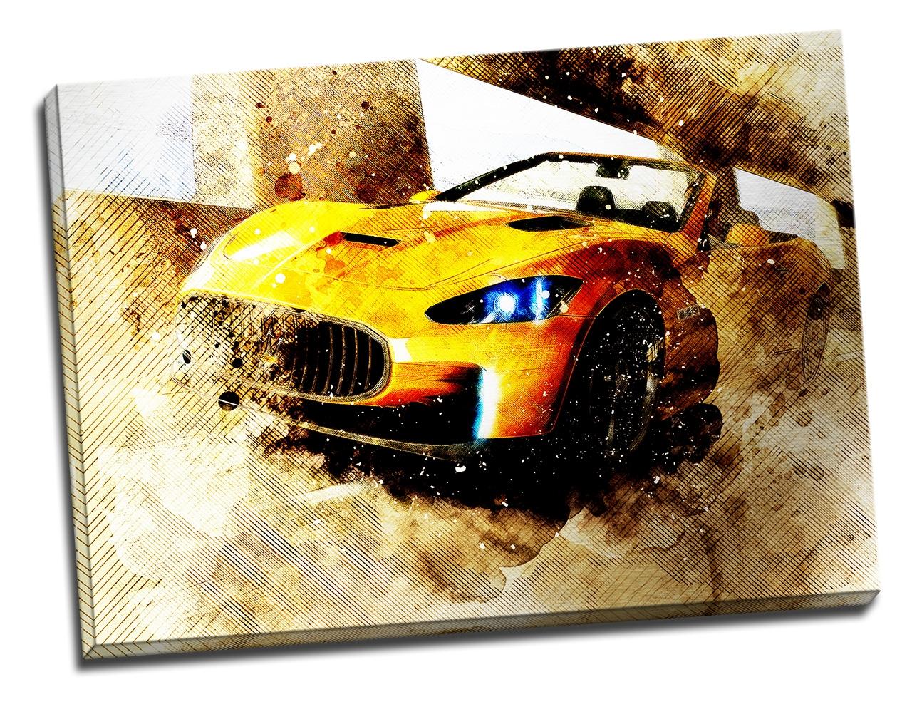 Tablou din aluminiu striat Yellow Supercar