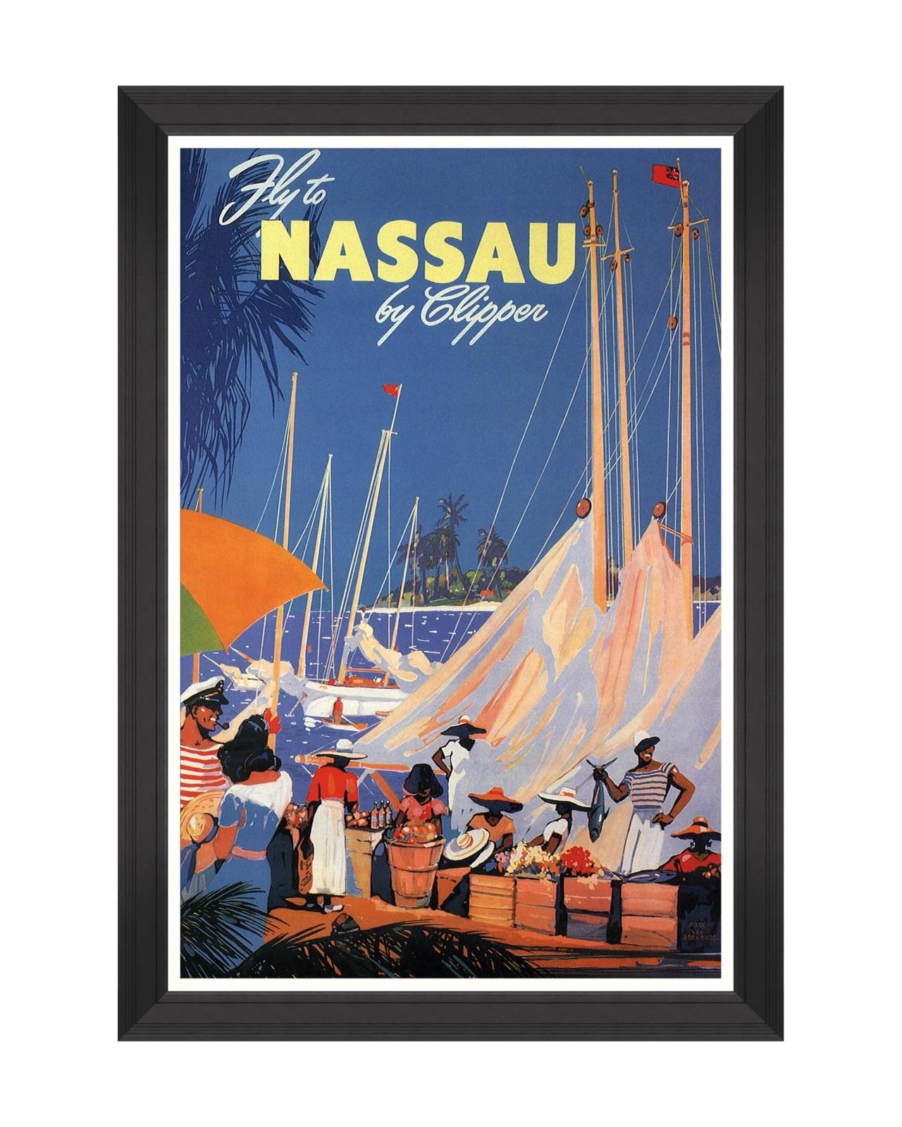 Tablou Framed Art Caribbean Travels - Fly To Nassau, 60 x 90 cm imagine