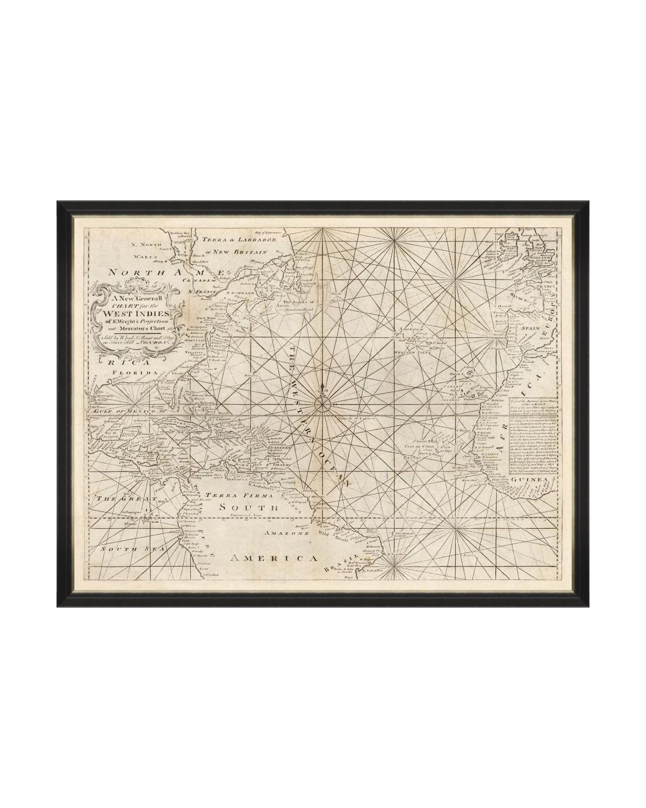 Tablou Framed Art Map of West Indies 1716, 120 x 90 cm imagine