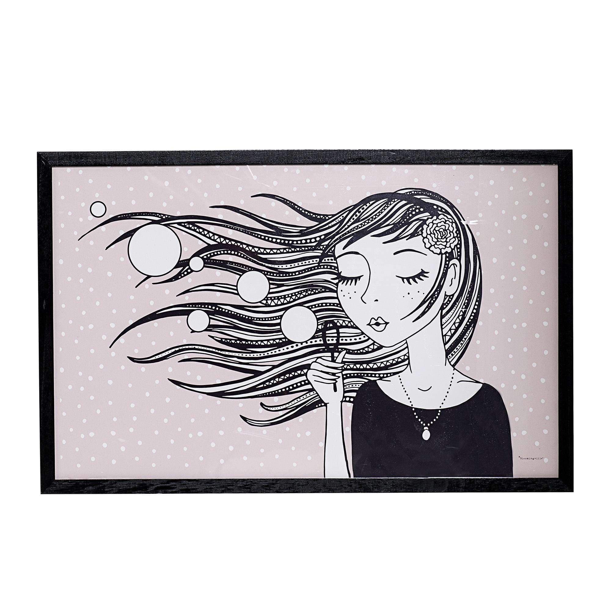 Tablou Girl Black cu rama din lemn de Paulownia L70xH45 cm