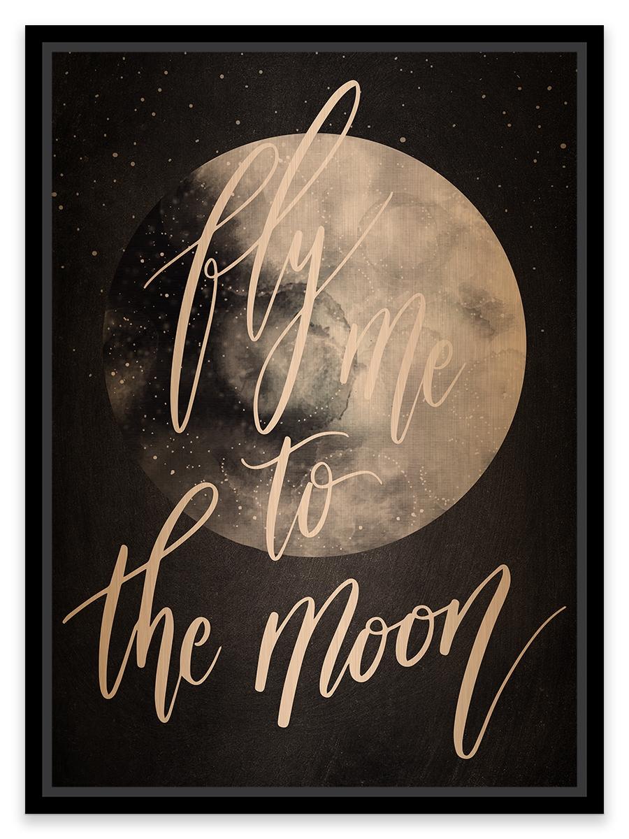 "Tablou pe metal striat aramiu To The Moon"""""