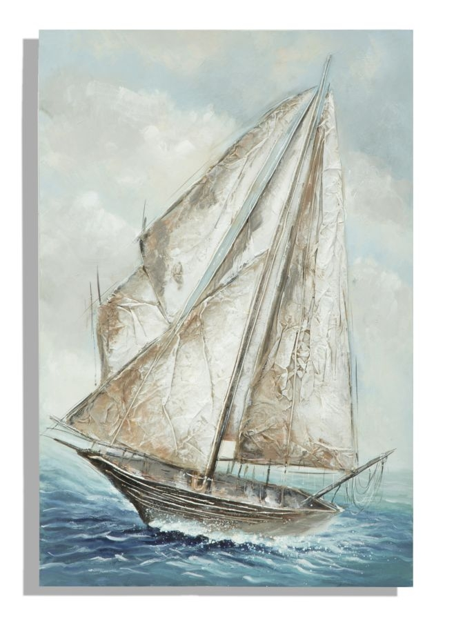 Tablou pictat manual Boat, 80×120 cm