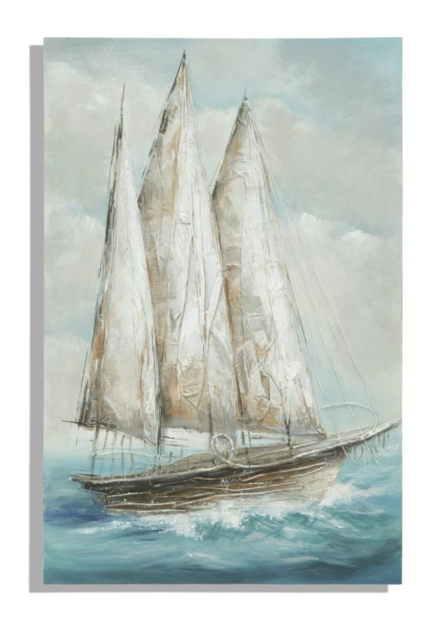 Tablou pictat manual Sailing Boat, 80×120 cm
