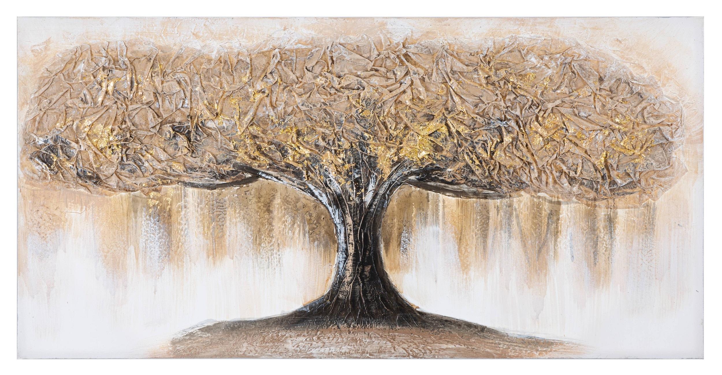 Tablou pictat manual Tree A Multicolor, 60 x 120 cm imagine